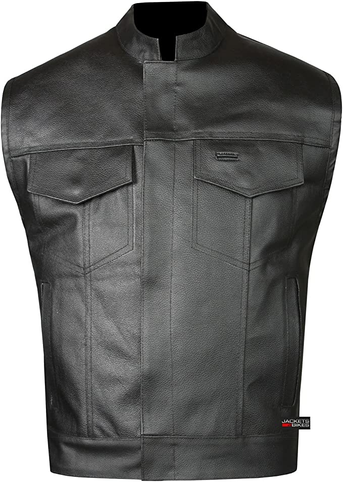 Mens Leather Motorcycle Collarless Vest SOA Biker Riding Concealed Carry 40-62