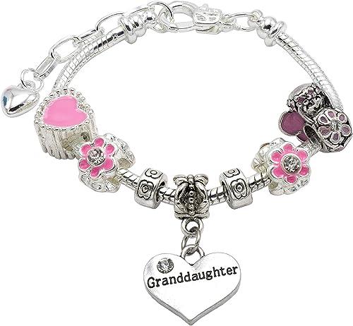 Petite-fille pour enfant Style Pandora charme Bracelet en couleur rose thème