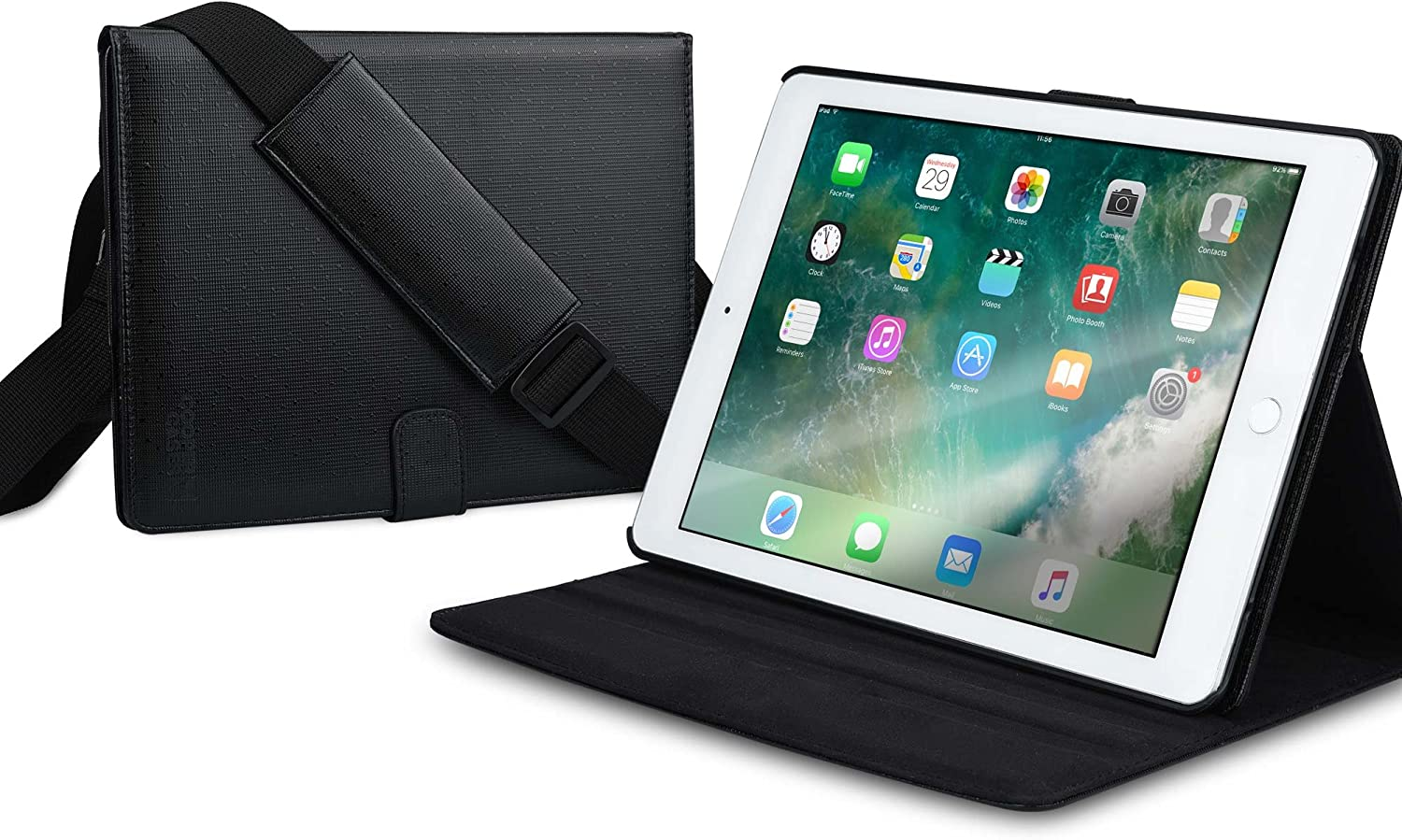 Cooper Magic Carry II Pro Case for iPad Pro 9.7, iPad Air 2 | Protective Tablet Folio Cover w/ Handle & Stand | Carrying Case for Business School Travel | A1673 A1674 A1566 A1567 (Black)
