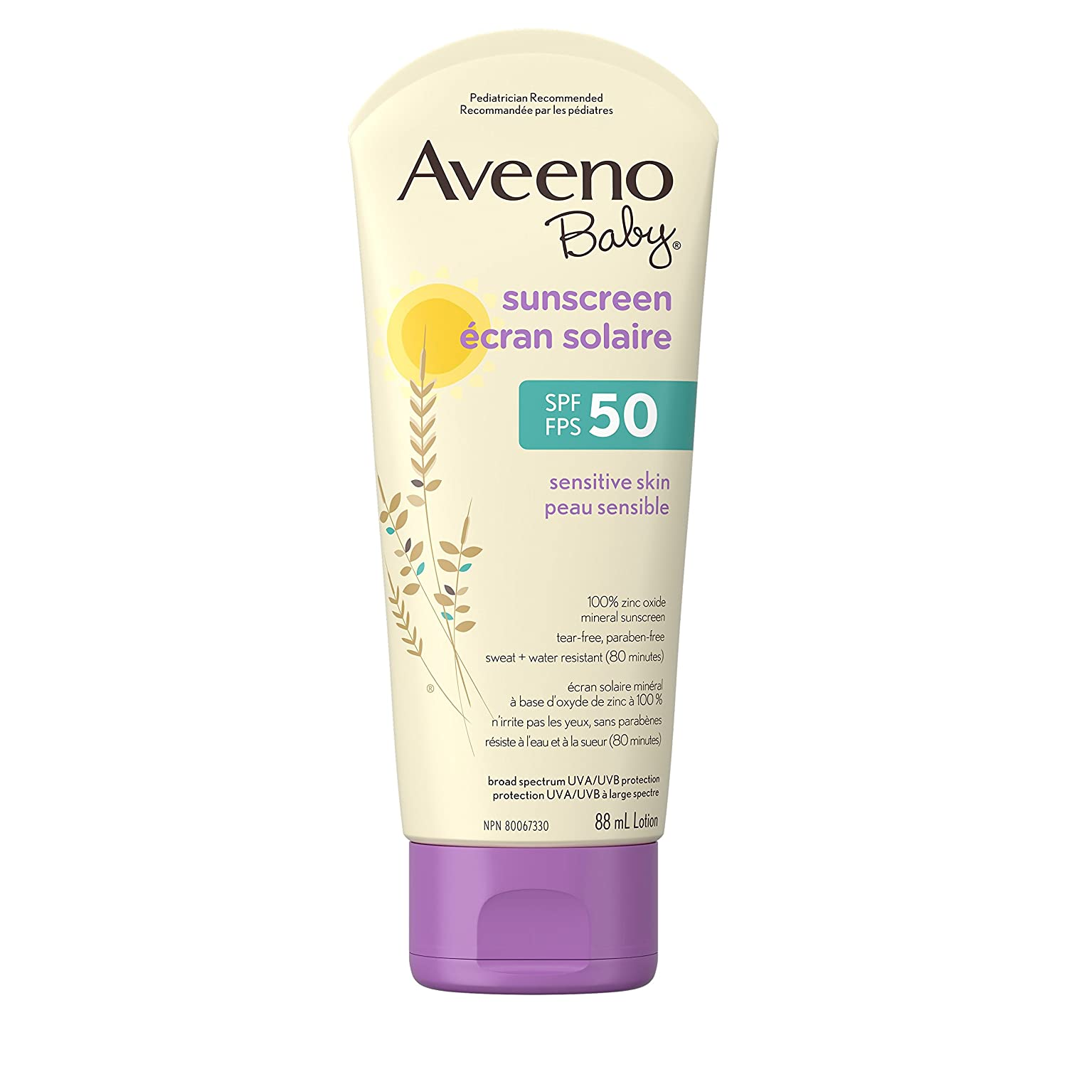 Aveeno Baby Mineral Sunscreen Lotion SPF 50, with Zinc Oxide Active Naturals for Sensitive Skin, 88ml Johnson & Johnson