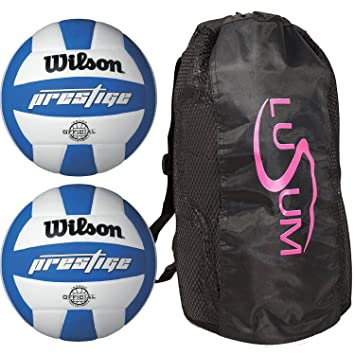 d601030ab4 Wilson Prestige Volleyball 2 Ball Pack with Lusum Duffle Bag  Amazon.co.uk   Sports   Outdoors