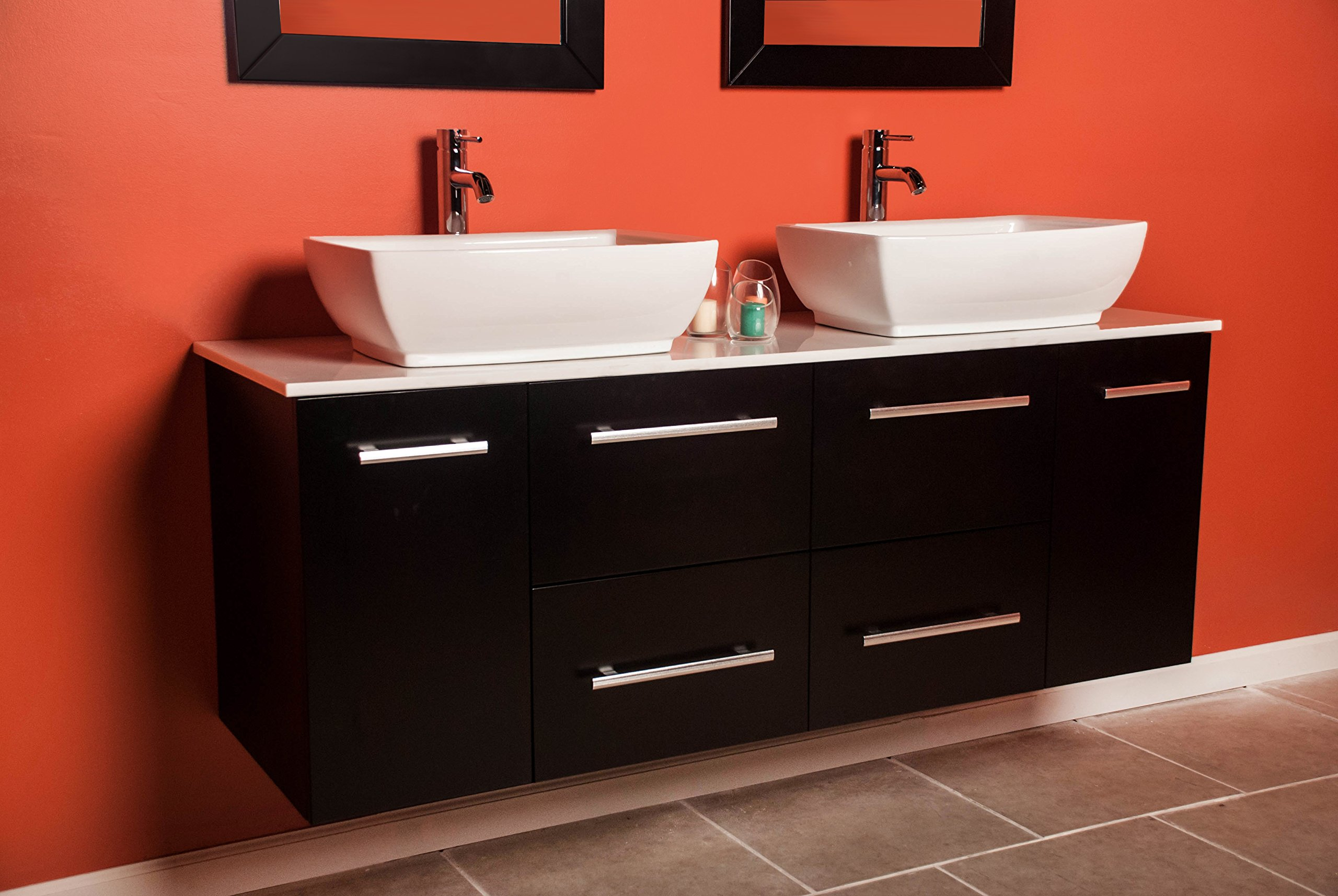 63 Inch Espresso Wall Mounted Wood & Porcelain Double Sink Bathroom Vanity Set- ''Butler'' (Brushed Nickel Faucets) by The Tub Connection