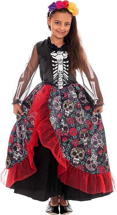 Magicoo Disfraz de Esqueleto Mexicano, niñas, Incluye Vestido y ...