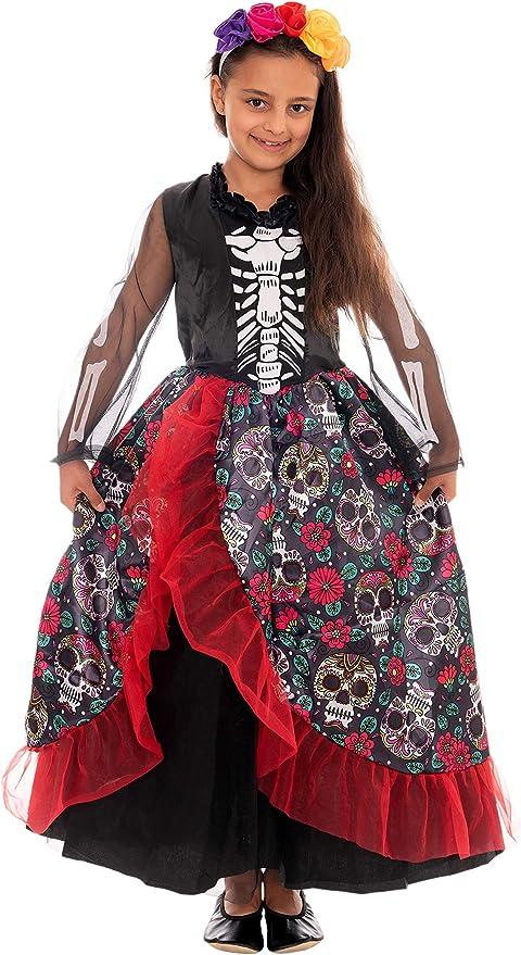 Magicoo Disfraz de Esqueleto Mexicano, niñas, Incluye Vestido y Diadema, Talla 110 a 140, para Halloween: Amazon.es: Juguetes y juegos