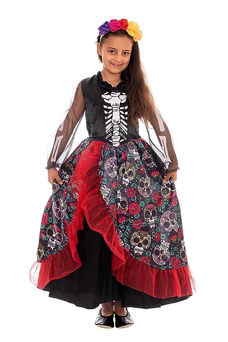 Magicoo Disfraz de Esqueleto Mexicano, niñas, Incluye Vestido y Diadema, Talla 110 a 140, para Halloween