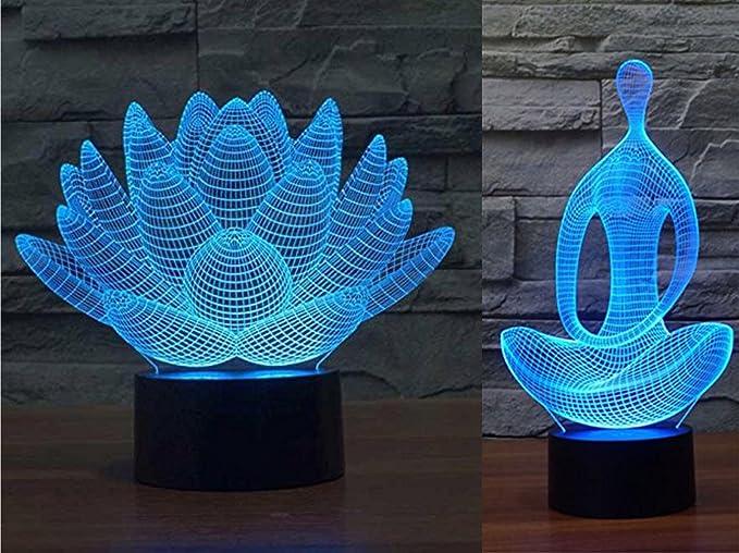 Paquete de 2 lámparas de luz nocturna con ilusión 3D de Yoga ...