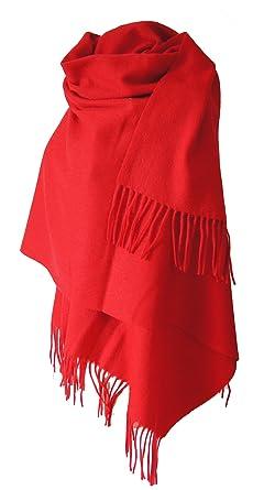 f4e82345e5fc Echarpe étole chale en laine et cachemire grande épaisse et chaude (ROUGE)
