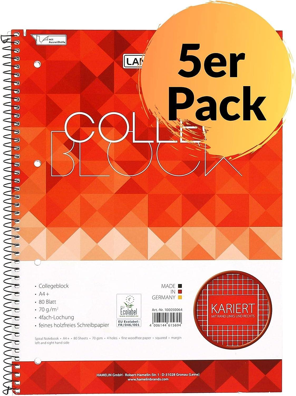 Landre Collegeblock - Cuaderno (A4, cuadriculado, con margen, 80 ...