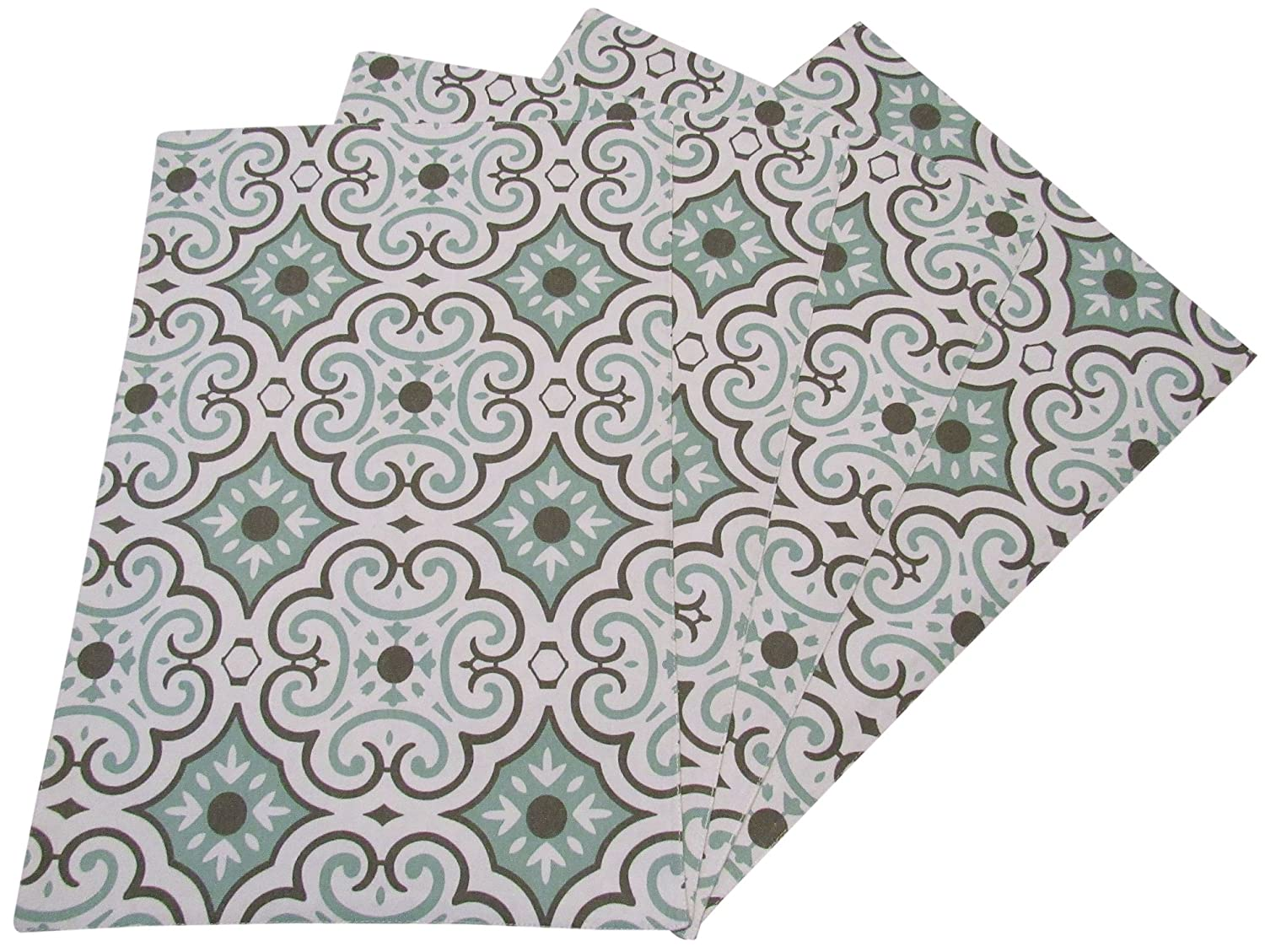 Crabtree Collection Seafoam Tile Table Placemat Set by The Top 4-Pack Place Mats from 100% Cotton  Fresh, Trendy Design & Eye-Catching Colors  Dining Table Accessory for Home, Restaurant, Café