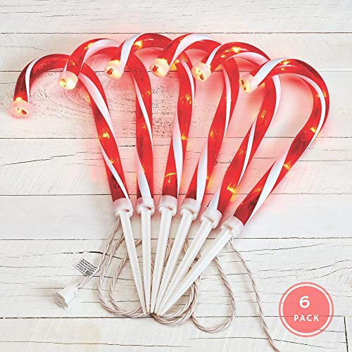NOMA Candy Cane Pathway Lights Pathway Markers Christmas Light Stakes 12 Set of 6