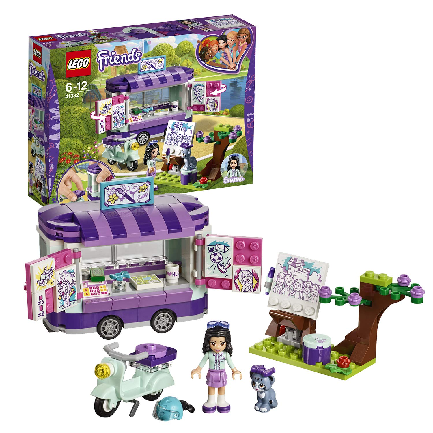 Lego 41332 friends heartlake emmas art stand trailer playset build and play fun toys for kids lego amazon co uk toys games