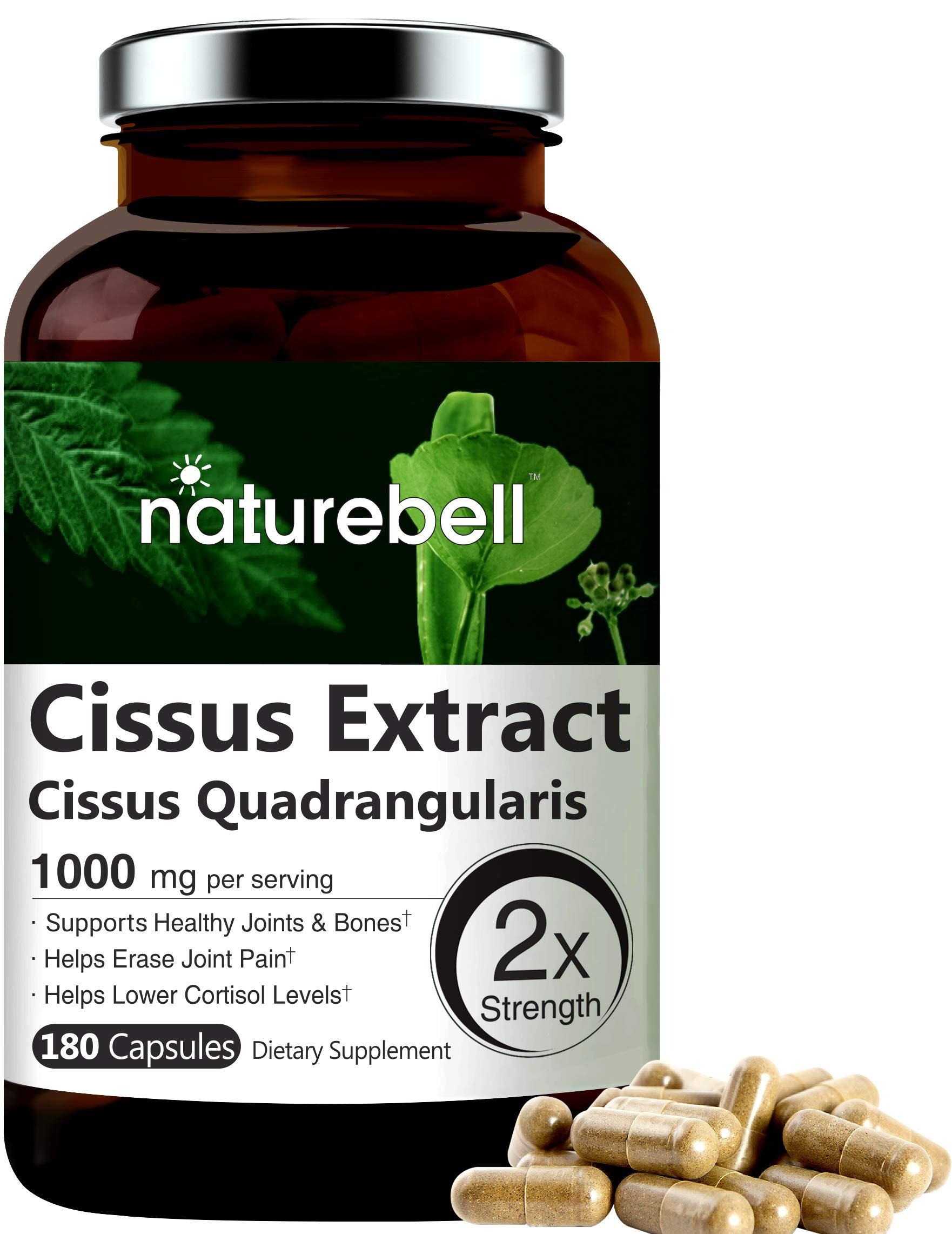 NatureBell Cissus Quadrangularis Capsules, 1000mg Per Serving, 180 Capsules, Premium Cissus Capsules, Support Joint, Tendon, Bone, Skin, Hair and Cartilage.