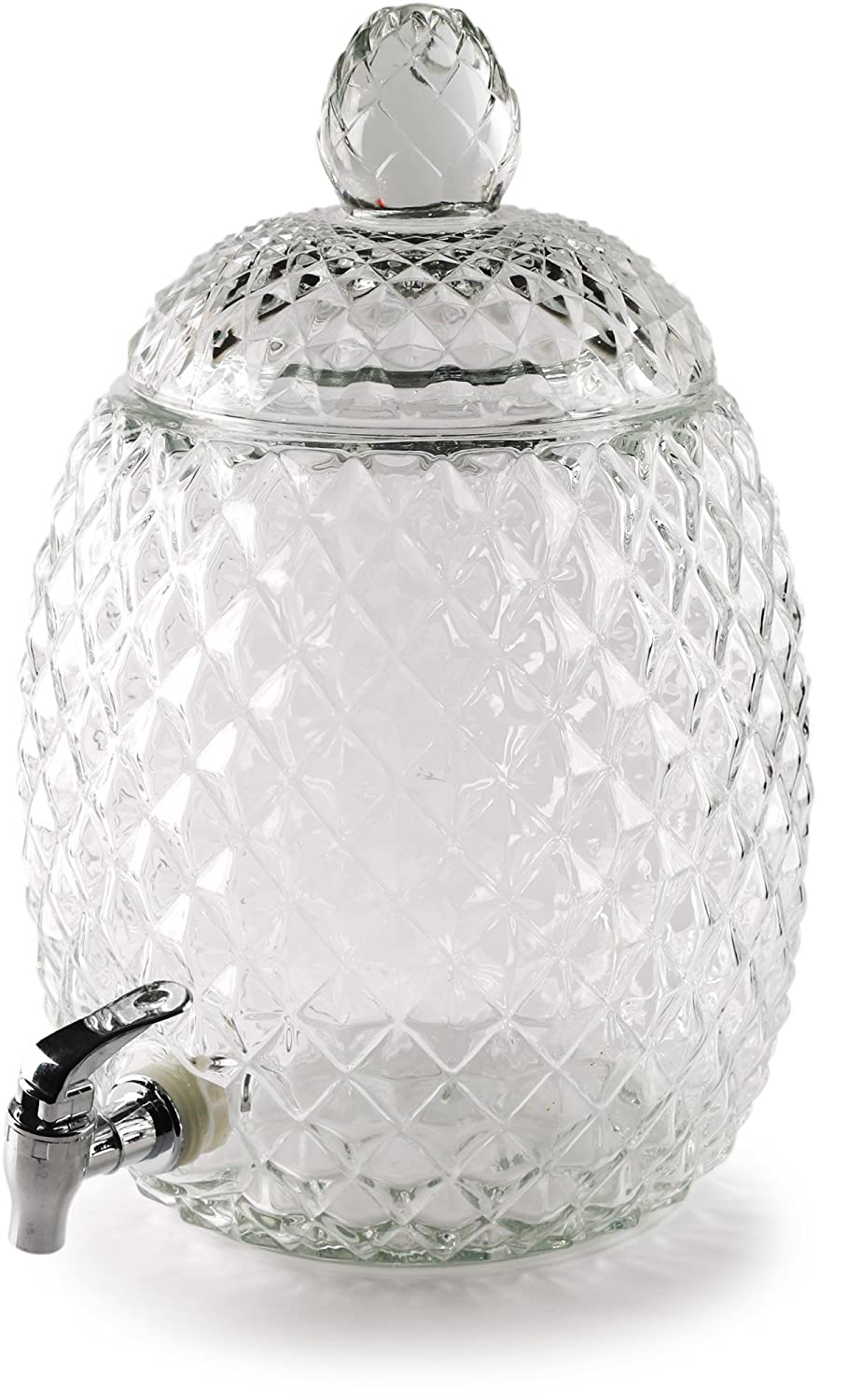 Circleware 98339 Sun Tea Jar Beverage Dispenser and Glass Lid, Party Entertainment Home Kitchen Glassware Water Pitcher for Juice, Beer, Kombucha & Cold Drinks, Lead-Free, Huge 2.1 Gallon Pineapple