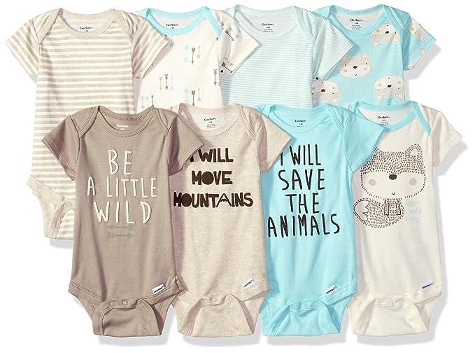 Amazon.com: GERBER Baby Boys 8-Pack Short-Sleeve Onesies ...