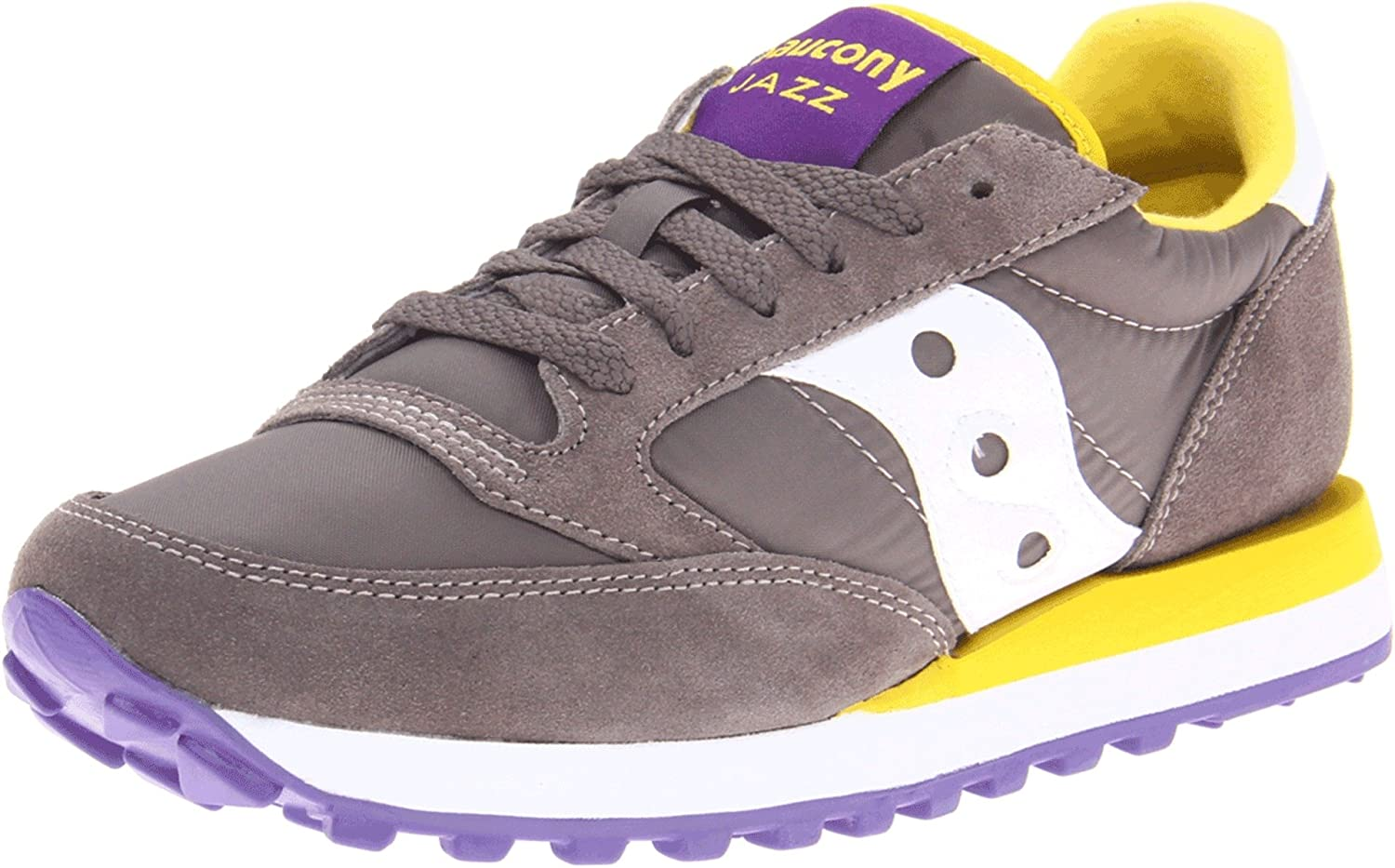 Saucony Originals Women's Jazz Original Sneaker B0083LPU0I 8 M US|Charcoal/Yellow/Purple