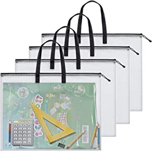 4 Pieces Art Portfolio Bag Poster Storage Bag Board Holder with Handle and Zipper 19 x 25 Inch Organizer Transparent Bag for Large Posters, Poster Board, Painting, Bulletin Boards (Black)