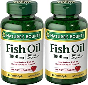 Nature's Bounty Fish Oil (Odorless) 1000 Mg, 240 Softgels (2 X 120 Count Bottles)