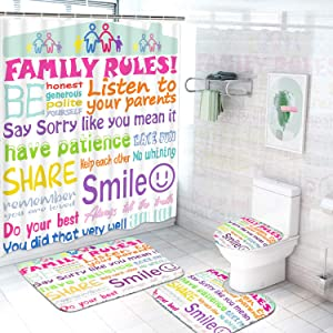 Ikfashoni 4Pcs Family Rules Shower Curtain Set with Non-Slip Rugs, Toilet Lid Cover and Bath Mat, Educational Shower Curtain with 12 Hooks, Durable Waterproof Fabric Shower Curtain for Bathroom