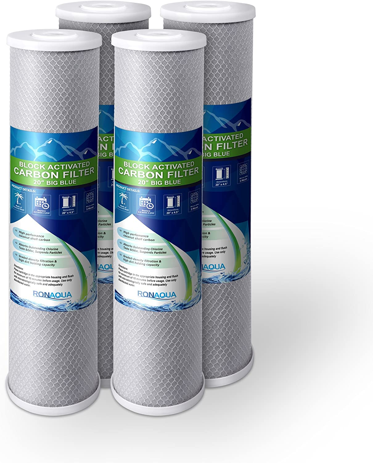 """4pcs Big Blue CTO Carbon Block Water Filters 4.5"""" x 20"""" Whole House Cartridges Set WELL-MATCHED with CB-45-2005, FC25B, FLTWH2045C02 and PRL-RCL"""