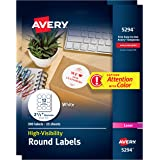 "Avery High Visibility Round Labels with Sure Feed for Laser Printers, 2-1/2"", 600 White Labels (45294)"