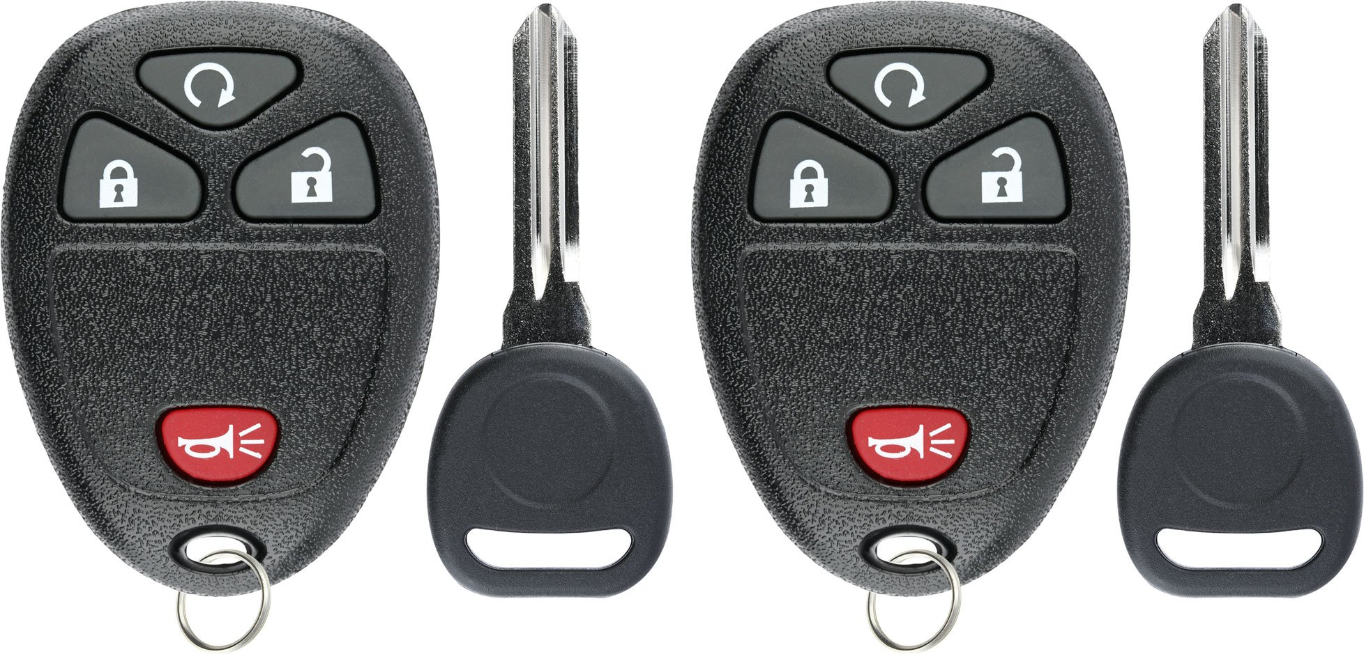 KeylessOption Keyless Entry Remote Control Car Key Fob Replacement for 15913421 with Key (Pack of 2) by KeylessOption