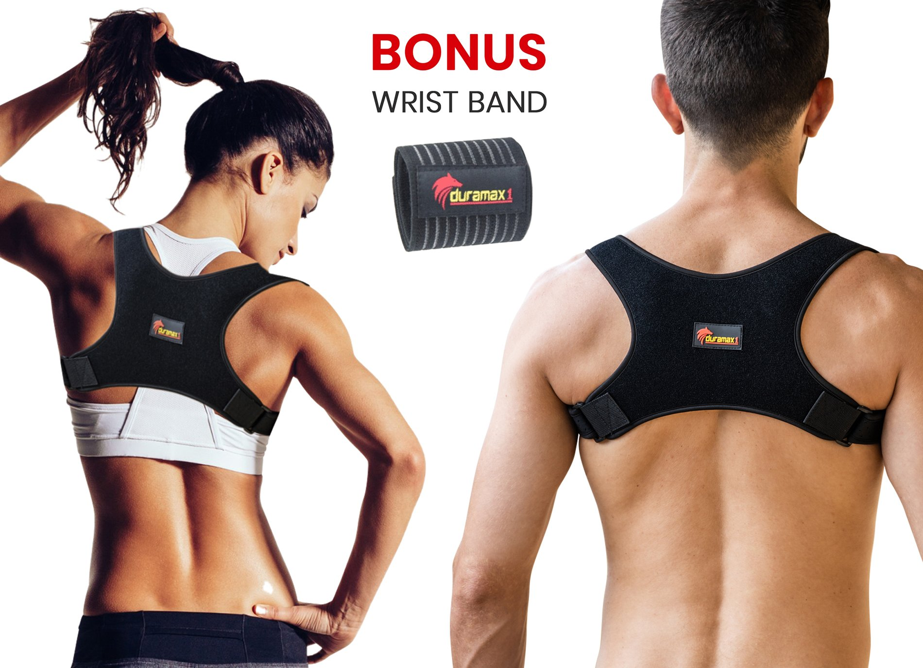 Premium Back Posture Corrector for Men and Women + Free Wrist Band by Duramax1- Comfortable Durable Clavicle Shoulder Strap | Upper Back Brace | Straighten Body Position & Boost Confidence
