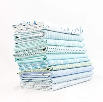 FQ Bundle-bleu et blanc princesse et licorne x 4-Fat Quarter-Tissu de coton