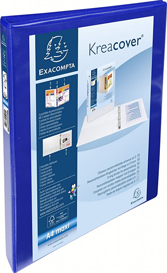 Exacompta 51840BODSE - Carpeta personalizable, A4, 4 anillas, 16 mm, azul,