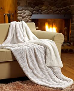"Tache White Ivory Super Soft Warm Polar Faux Fur with Sherpa Throw Blanket 50""x60"""