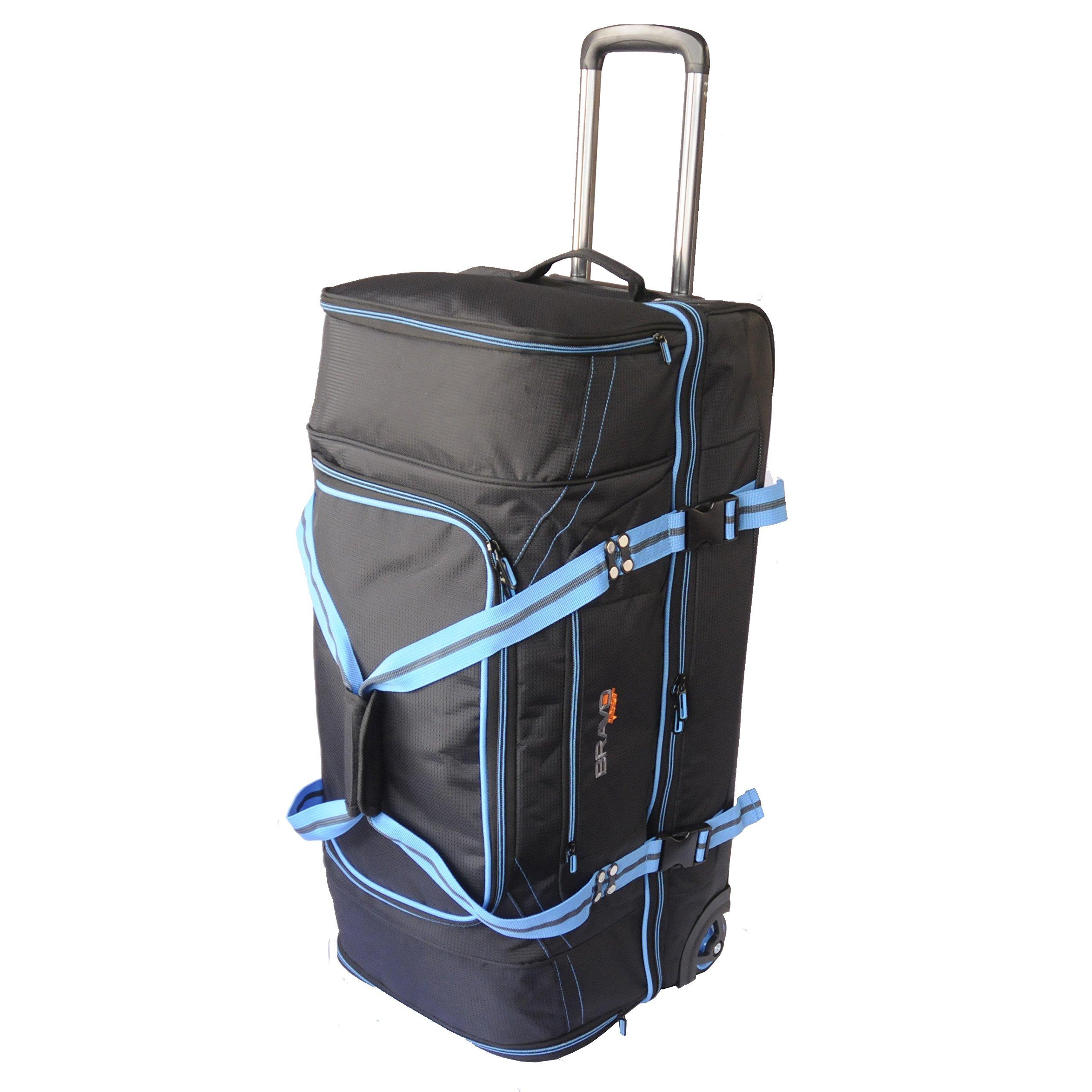 Bravo Gear 30 Inch Rolling Upright Duffel Bag Blue Travel Carry On Luggage Large Camp XL Duffle Bag TSA by Xena