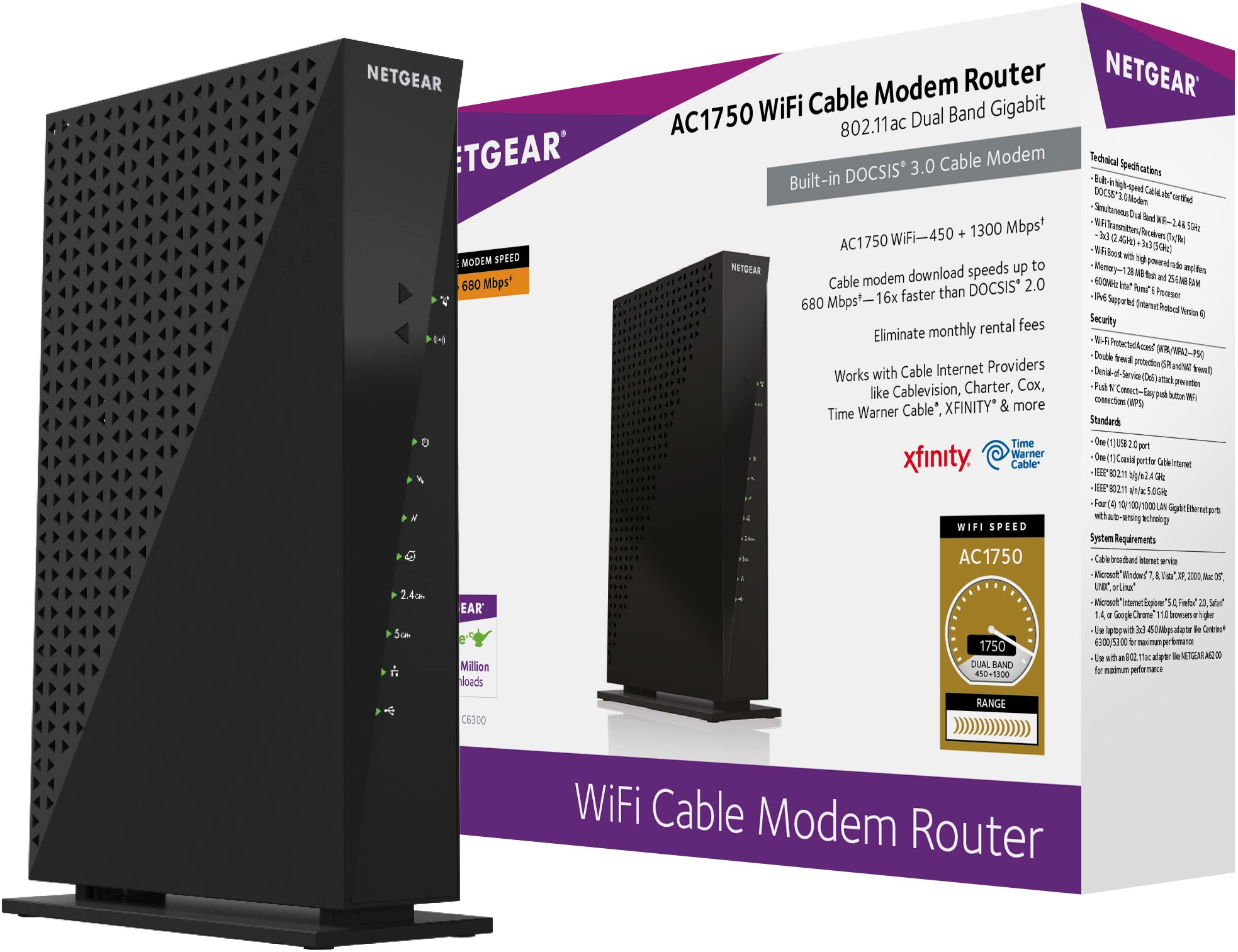 Netgear C6300-100NAS AC1750 (16x4) DOCSIS 3.0 WiFi Cable Modem Router Combo (C6300) Certified for Xfinity from Comcast, Spectrum, Cox, Cablevision & more by NETGEAR