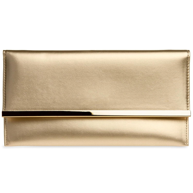 CASPAR TA405 kleine flache elegante Damen Envelope Clutch Tasche Abendtasche 4251549602019