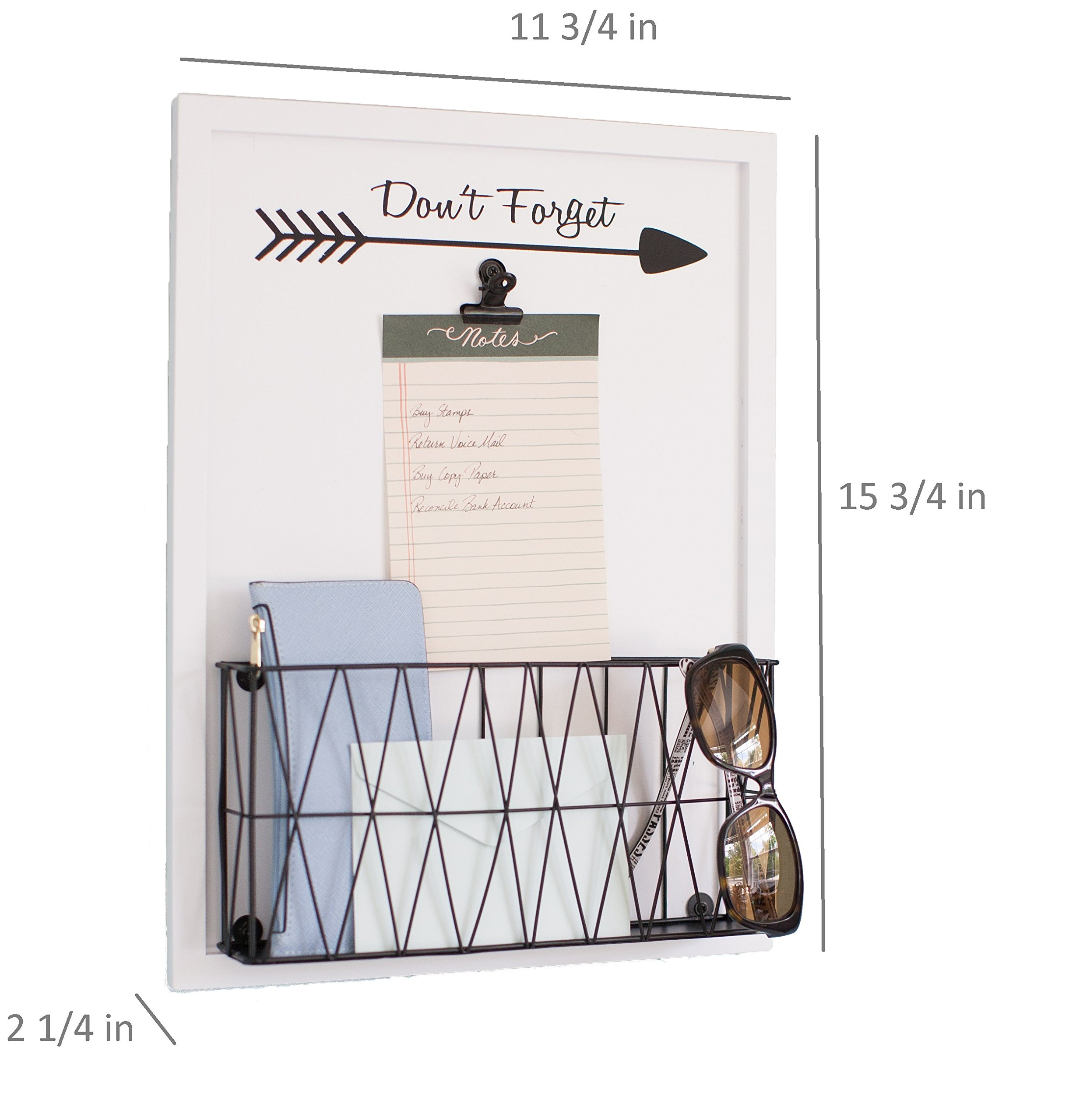 Blu Monaco Rustic Farmhouse Wall Mounted Mail Holder - Note Clip for Storage - White Wooden with Iron Black Metal Basket - for Office, Kitchen, Entryway