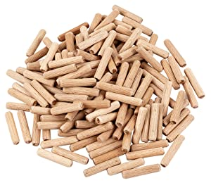 """BICB Fluted Wood Dowel Pin, 1/4"""" x 1.5""""- 200 Pieces"""