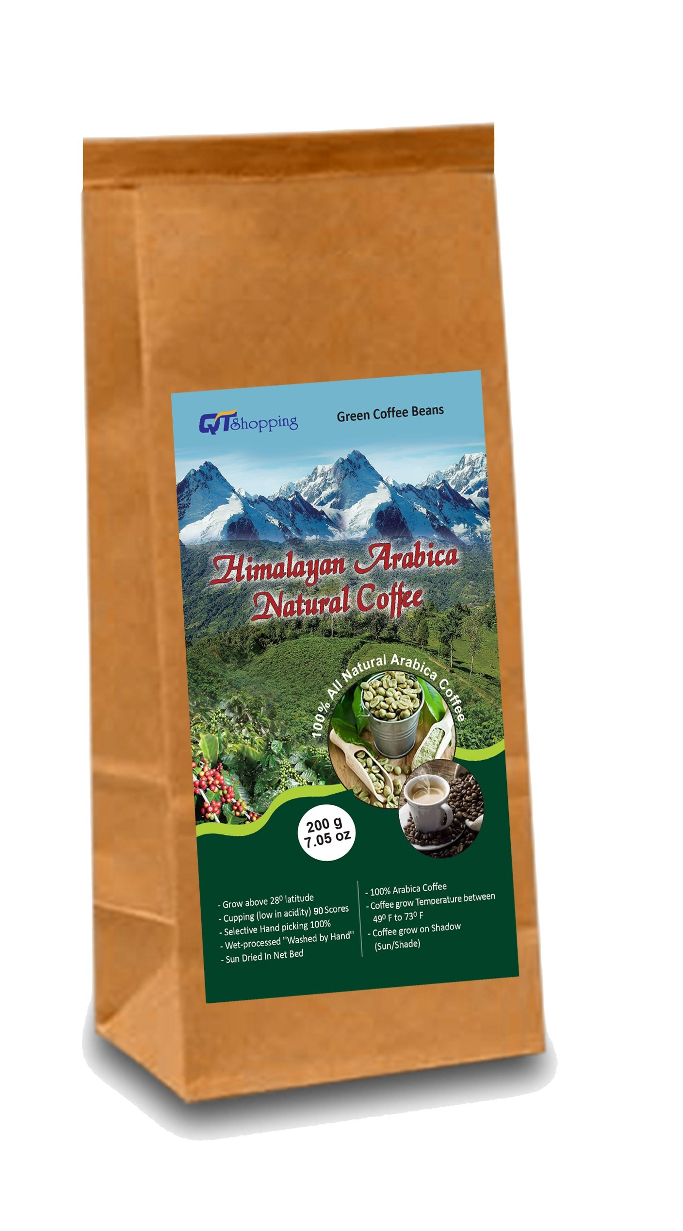 Himalayan Arabica Organic Green Beans Coffee - World's Best Organic Coffee | Product of Himalayas, Nepal (Net Wt. 200g | 7.05 oz) by QT Shopping LLC