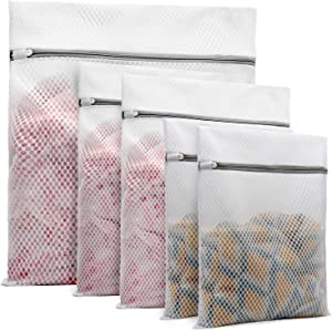 5Pcs Durable Honeycomb Mesh Laundry Bags for Delicates (1Pcs 24 x 24 Inches, 2Pcs 16 x 20 Inches, 2Pcs 12 x 16 Inches)