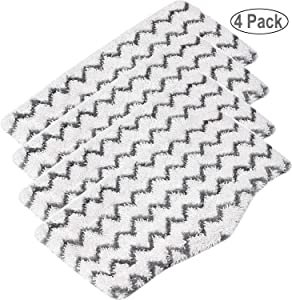 RAYSUN 4PCS Washable Microfiber Steam Mop Pads Replacement for Shark Steam Mop S3101 S3102 S3250 S3251 SK115 SK140 SK141 SK410 SK435 SK435CO SK460 SS460D SS460WM Zigzag
