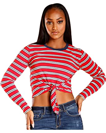 188521c7219 Amazon.com: Women's Multi Striped Long Sleeve TIE Front TOP,Red,M ...