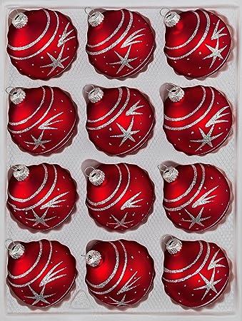 12 tlg. Glas-Weihnachtskugeln Set in \