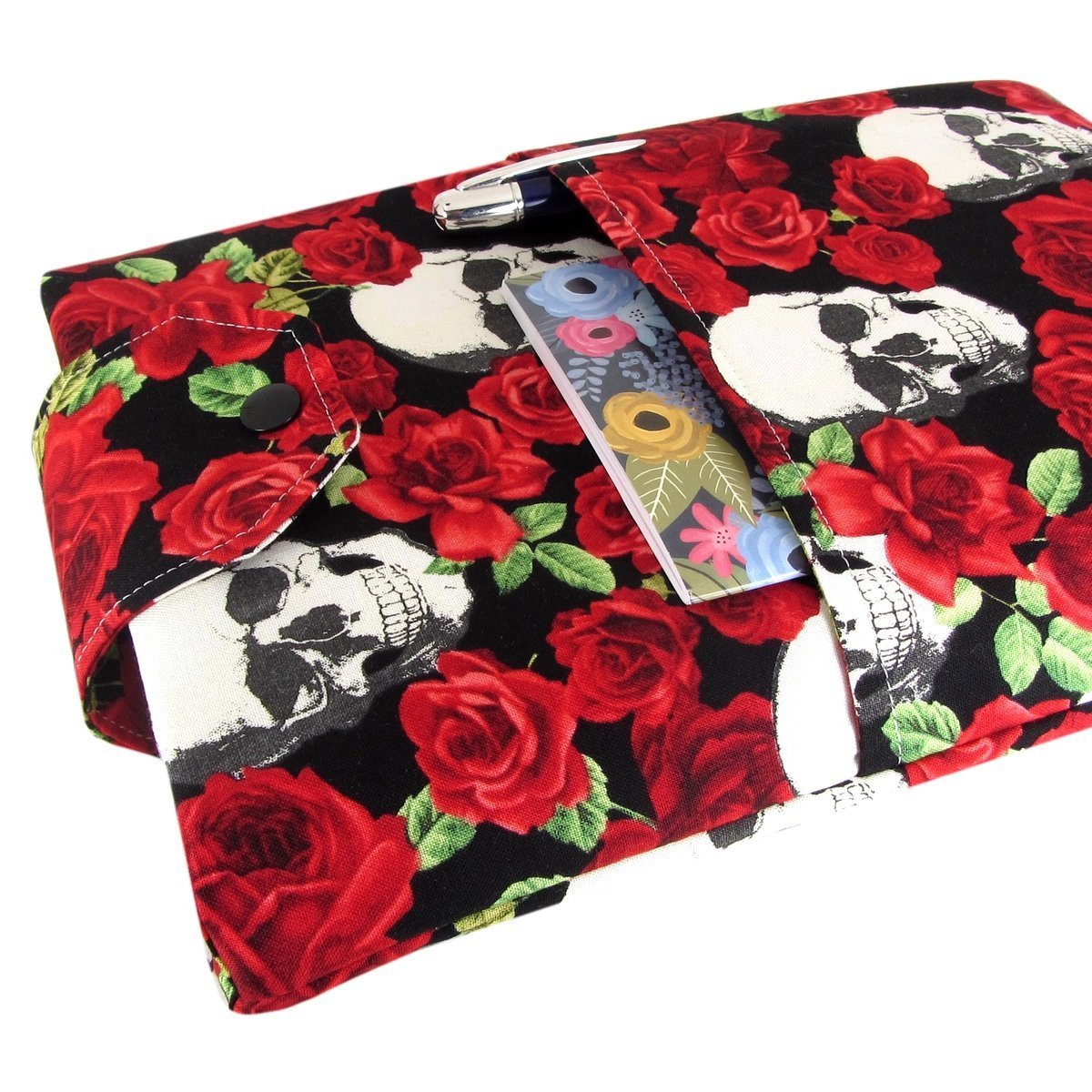 Handmade Fabric Book Sleeve - Perfect For Hardbacks Or Large Paperbacks - Padded, Skull Roses Print