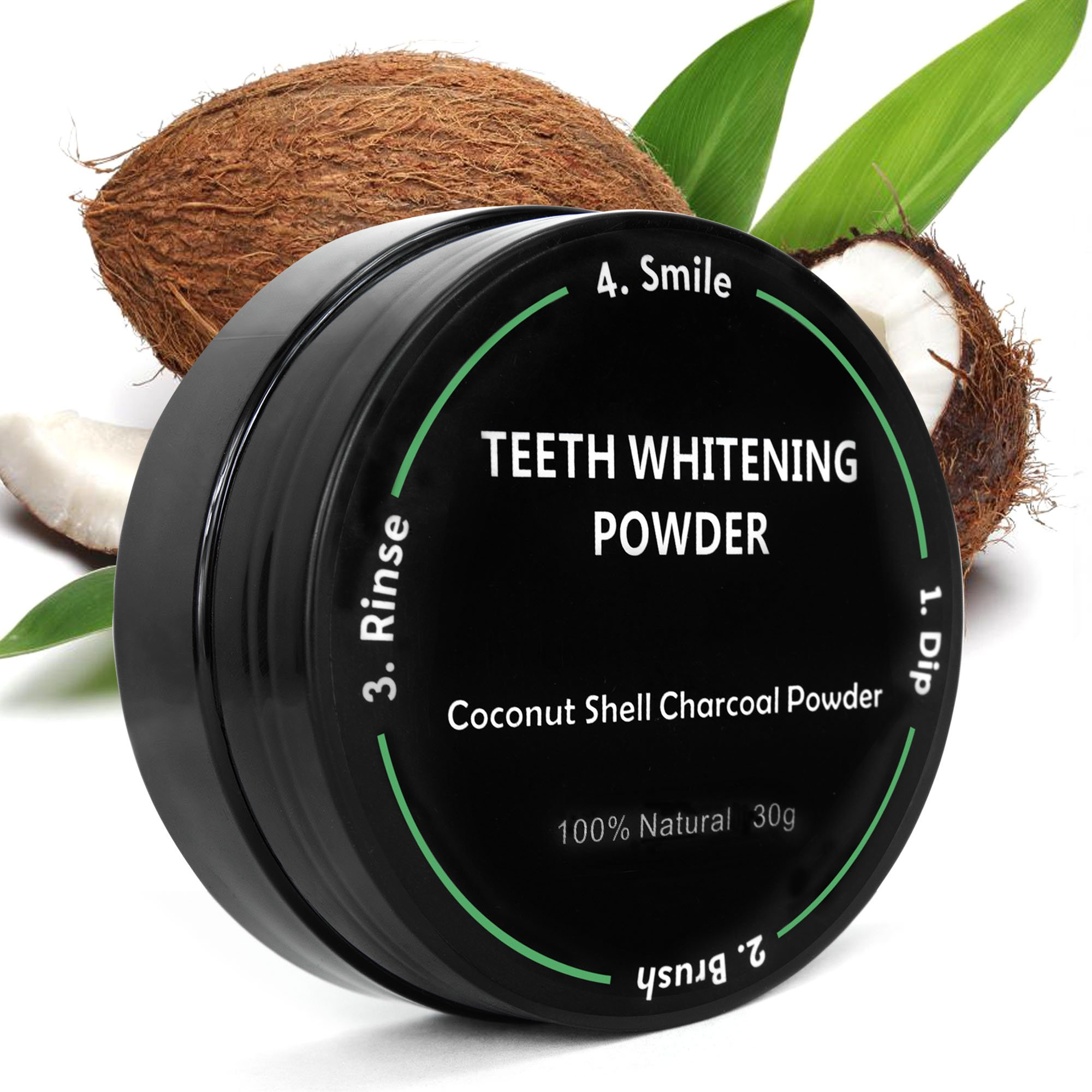 P & J Health All Natural Coconut Activated Charcoal Teeth Whitening Powder - Safe Effective Tooth Whitener Solution! (30g, All Natural)