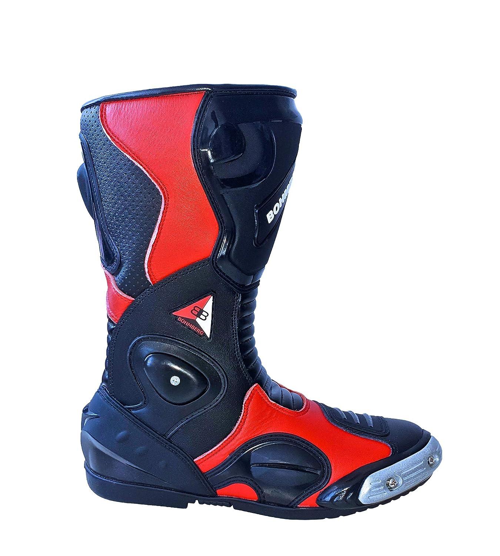 Pelle Idrorepellente e Robusta con Protezioni rigide Applicate Scarpe da Moto per Uomo Bohmberg Premium Stivali da Moto Stivali Sportivi in Pelle
