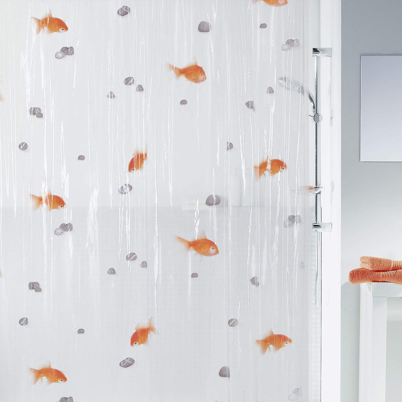 Cortina de PVC transparente con patrón de peces.  Medida 180x200cm.