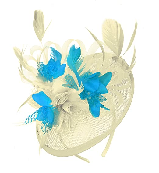 df58a9dd409cc Caprilite Cream Ivory and Aqua Sinamay Disc Saucer Fascinator Hat for Women  Weddings Headband  Amazon.co.uk  Clothing
