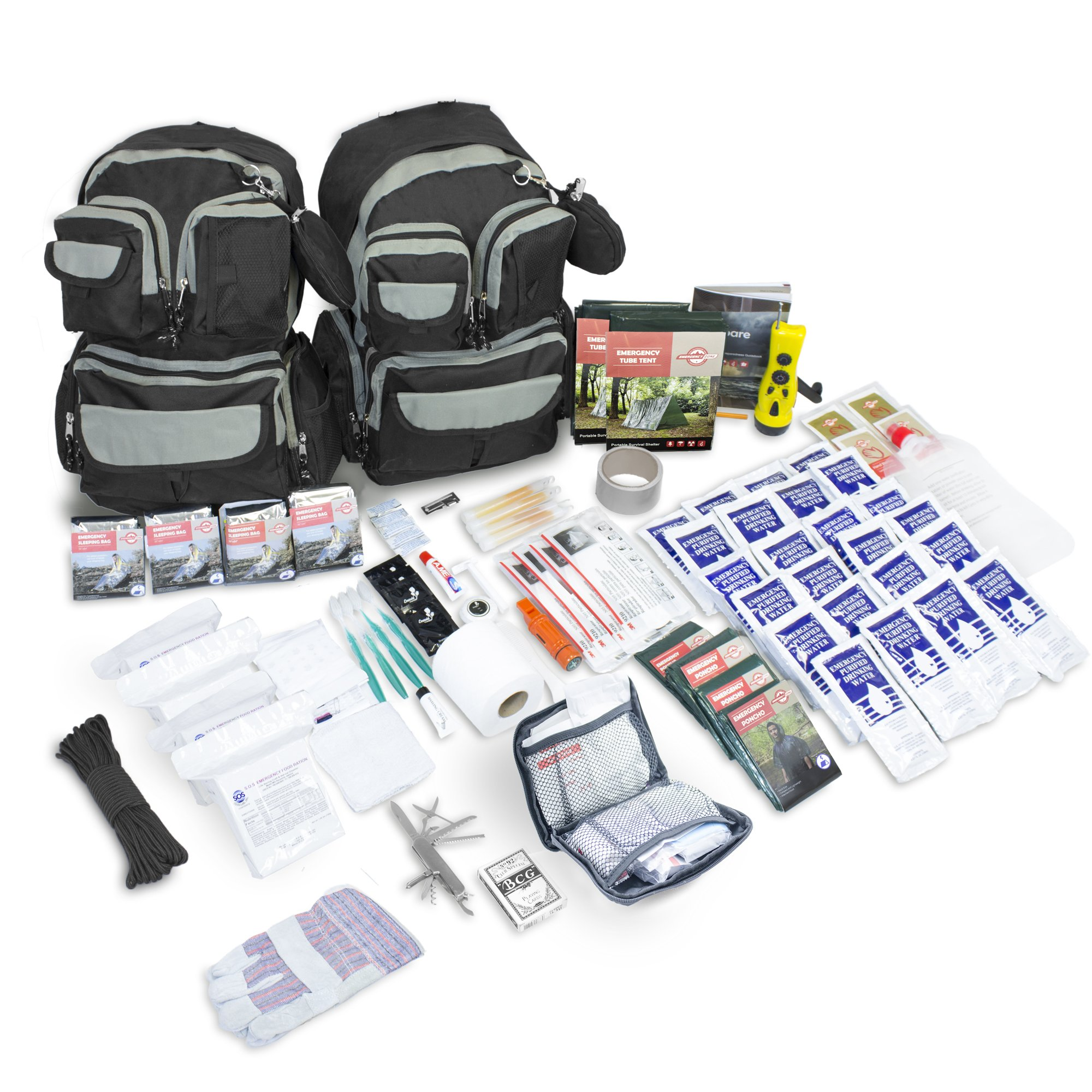 Emergency Zone Urban Survival Bug Out Bag, Choose from 2 or 4 Person Emergency Disaster Kit, 72-hour, Brand (4 Person)