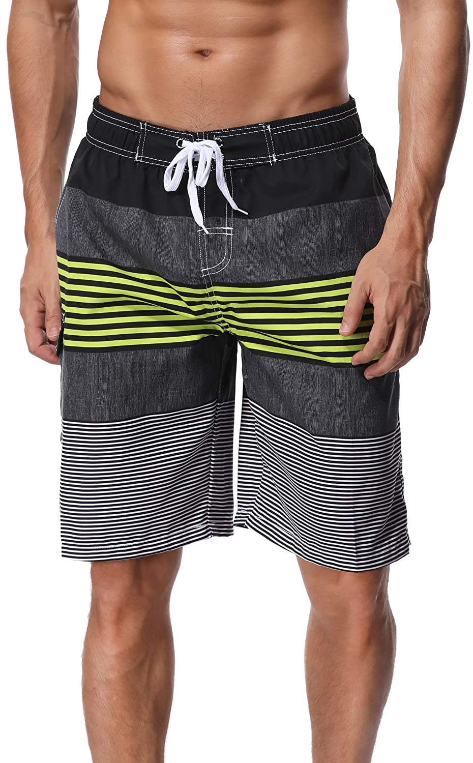 f4629987e1 LIGHTWEIGHT & DURABLE - Men's swim trunks are made from strong and brushed  polyester, mens swimming trunks ...
