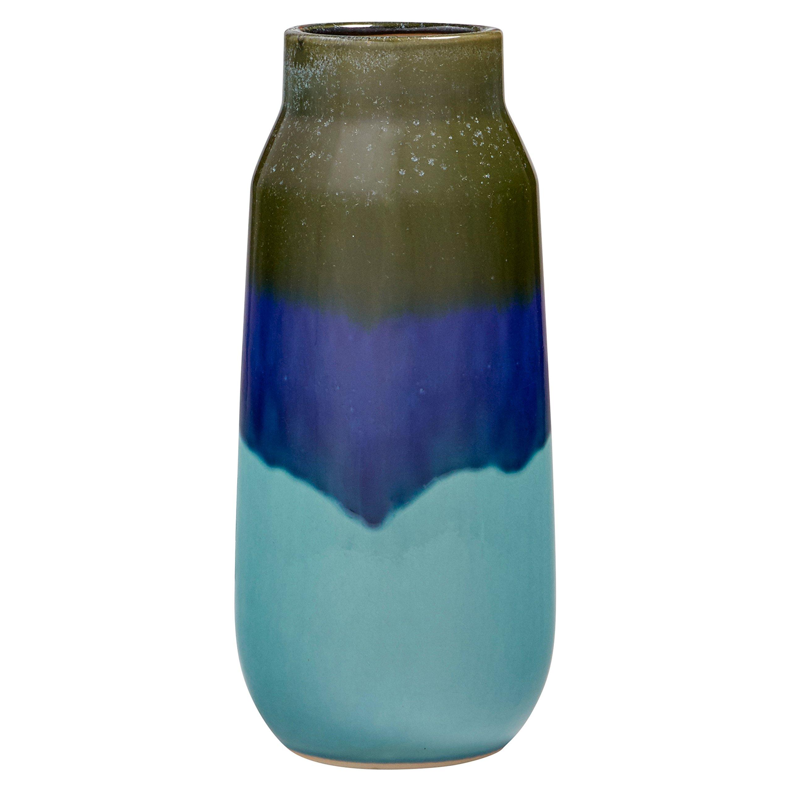CDM product Rivet Mid Century Modern Ceramic Home Decor Flower Vase - 12 Inch, Blue and Green big image