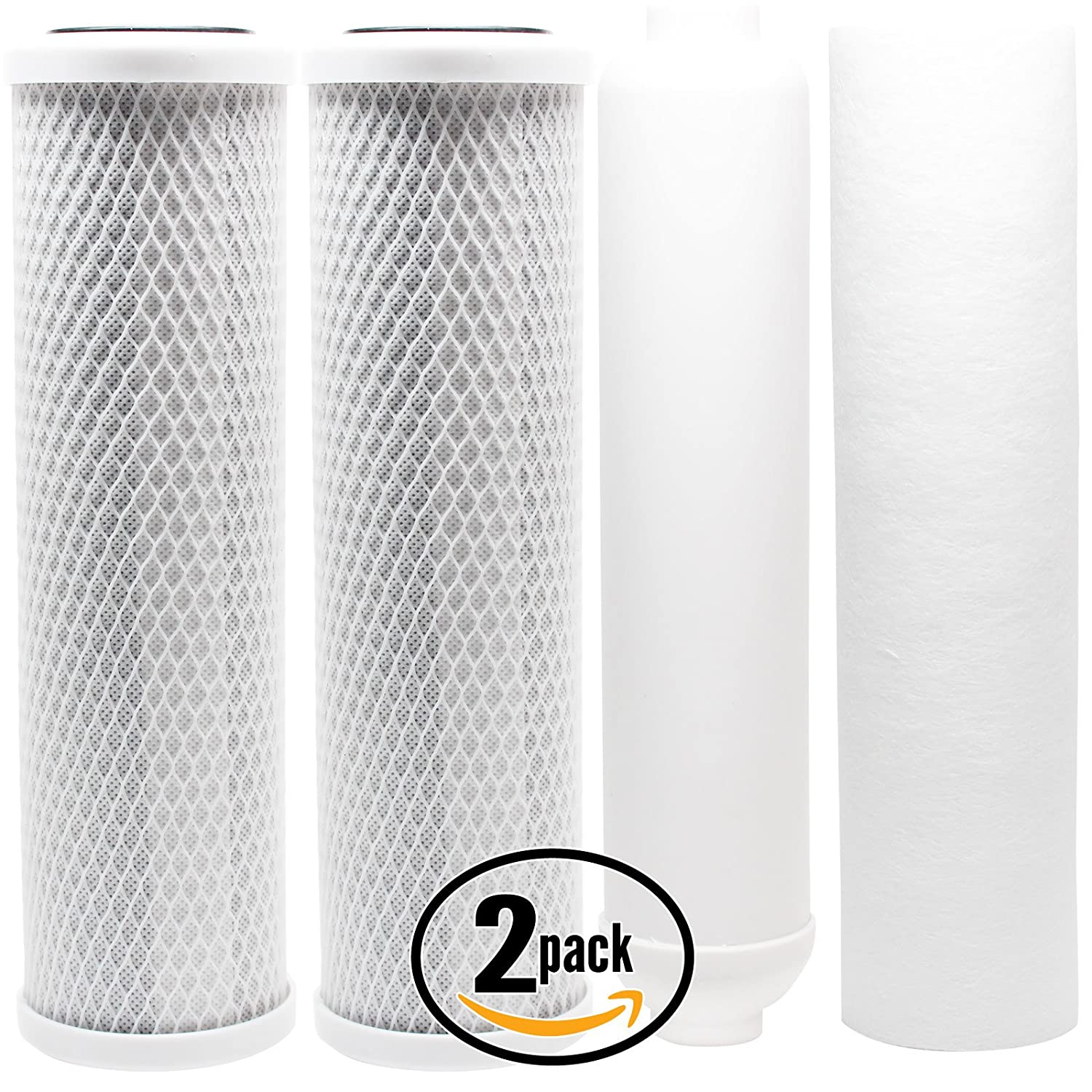 2-Pack Replacement Filter Kit Compatible with Watts W-525P-110 RO System Denali Pure Brand PP Sediment Filter /& Inline Filter Cartridge Includes Carbon Block Filters