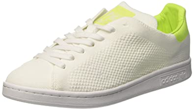 adidas Stan Smith Primeknit, Baskets Basses Femme, Blanc Footwear White/Solar Yellow,