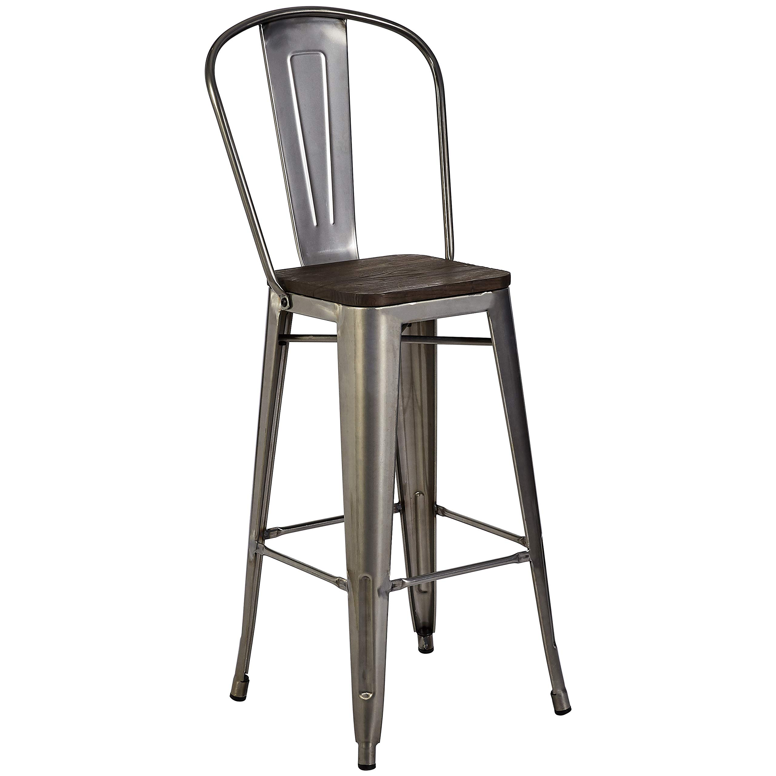 Pioneer Square Midvale 30-Inch Bar-Height Metal Stool with Back Rest, Set of 2, Silver Gray by Pioneer Square